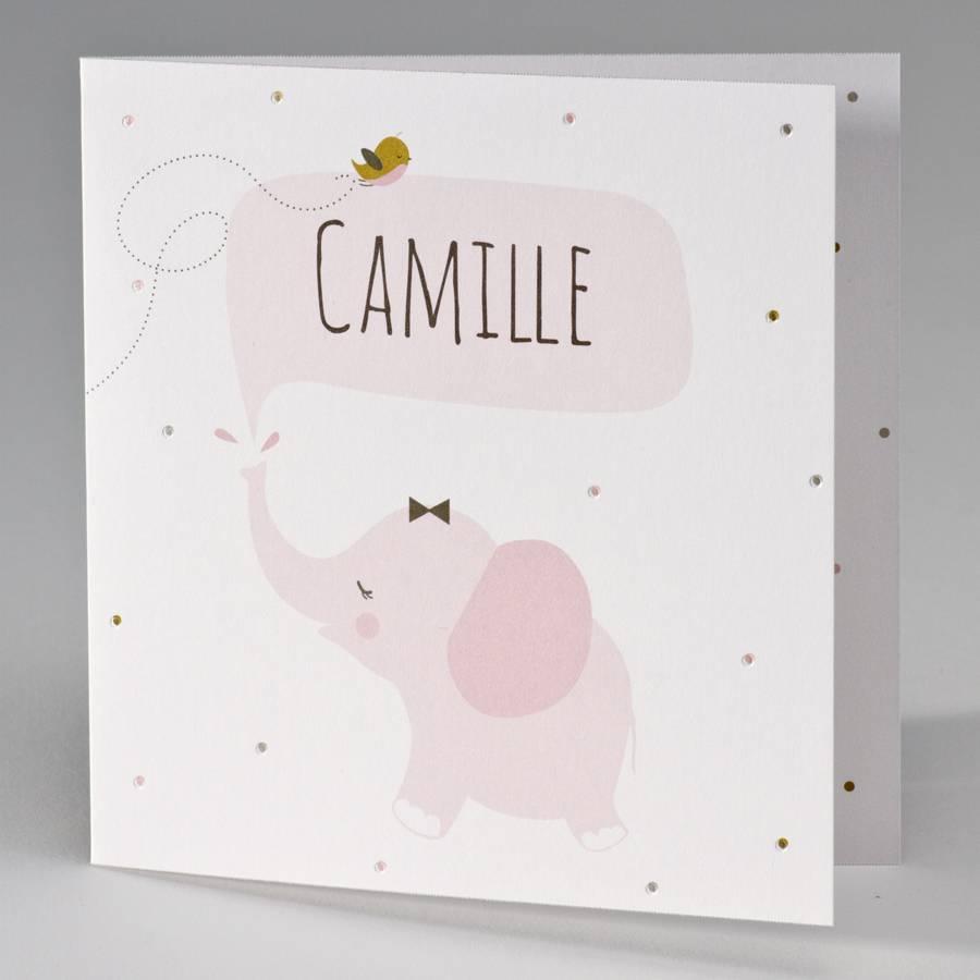Buromac Pirouette Geboortekaart met roze olifantje (507133)