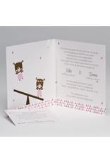 Buromac Pirouette Geboortekaart tweeling roze beertjes (507128)