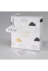 Buromac Pirouette Geboortekaart met wolken en Welkom kleintje in goud (507010)