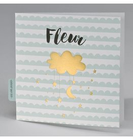 Buromac Pirouette Geboortekaart mintgroen met wolk en sterren in goud
