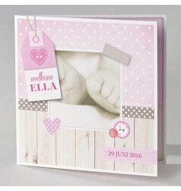 Buromac Pirouette Geboortekaart met voetjes en roze label