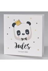 Buromac Pirouette Geboortekaart met panda en gouden kroon (507008)