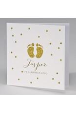 Buromac Pirouette Geboortekaart met gouden glittervoetjes (507112)