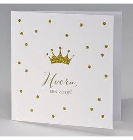 Buromac Pirouette Geboortekaart met gouden glitterkroon