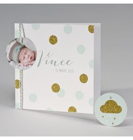 Buromac Pirouette Geboortekaart met glitterconfetti - mint