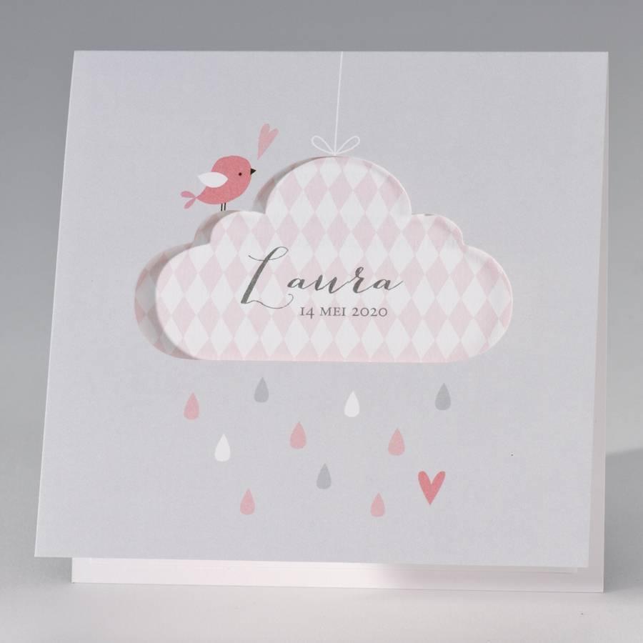 Buromac Pirouette Geboortekaart lichtgrijze geboortekaart met roze accenten (507025)