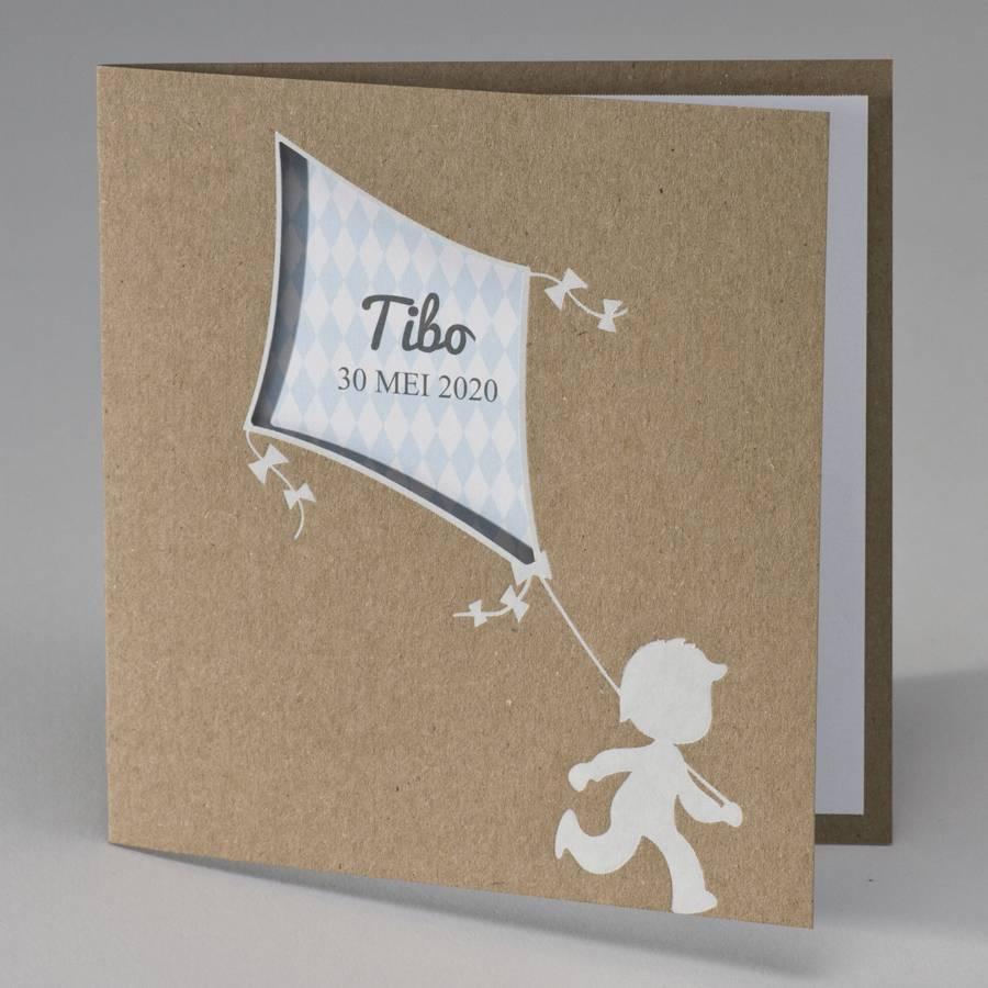 Buromac Pirouette Geboortekaart kraft geboortekaart jongen met blauwe vlieger (507038)