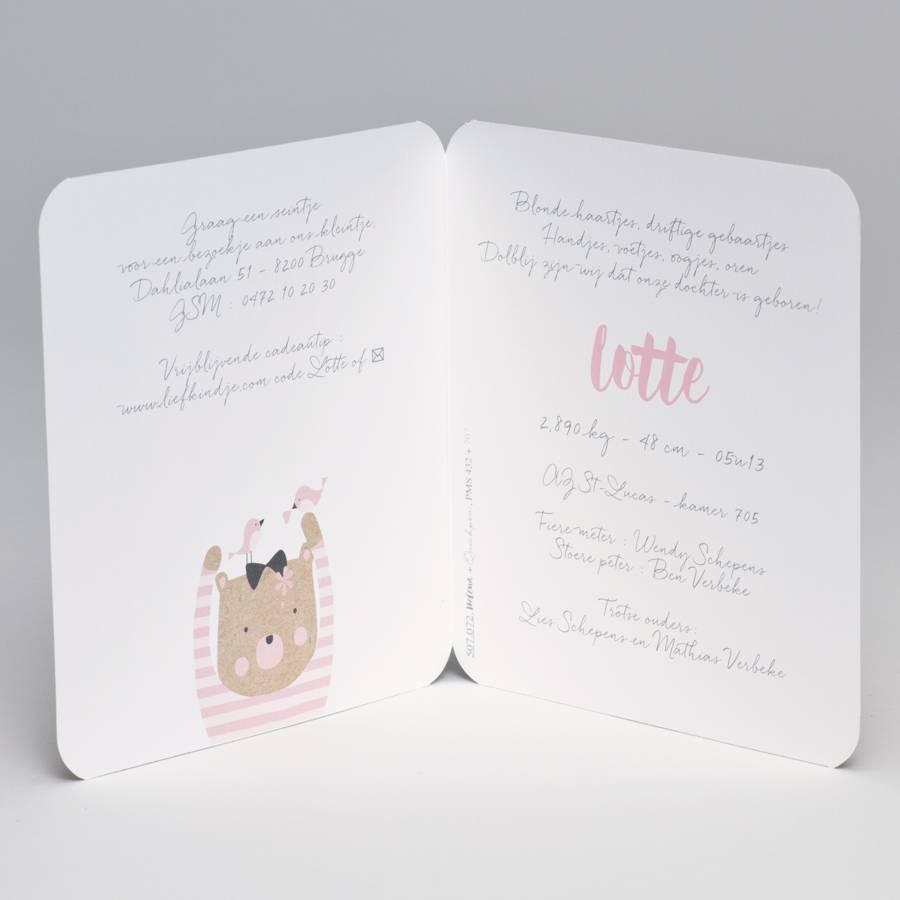 Buromac Pirouette Geboortekaart kraft geboortekaart beer met roze gestreepte trui (507072)