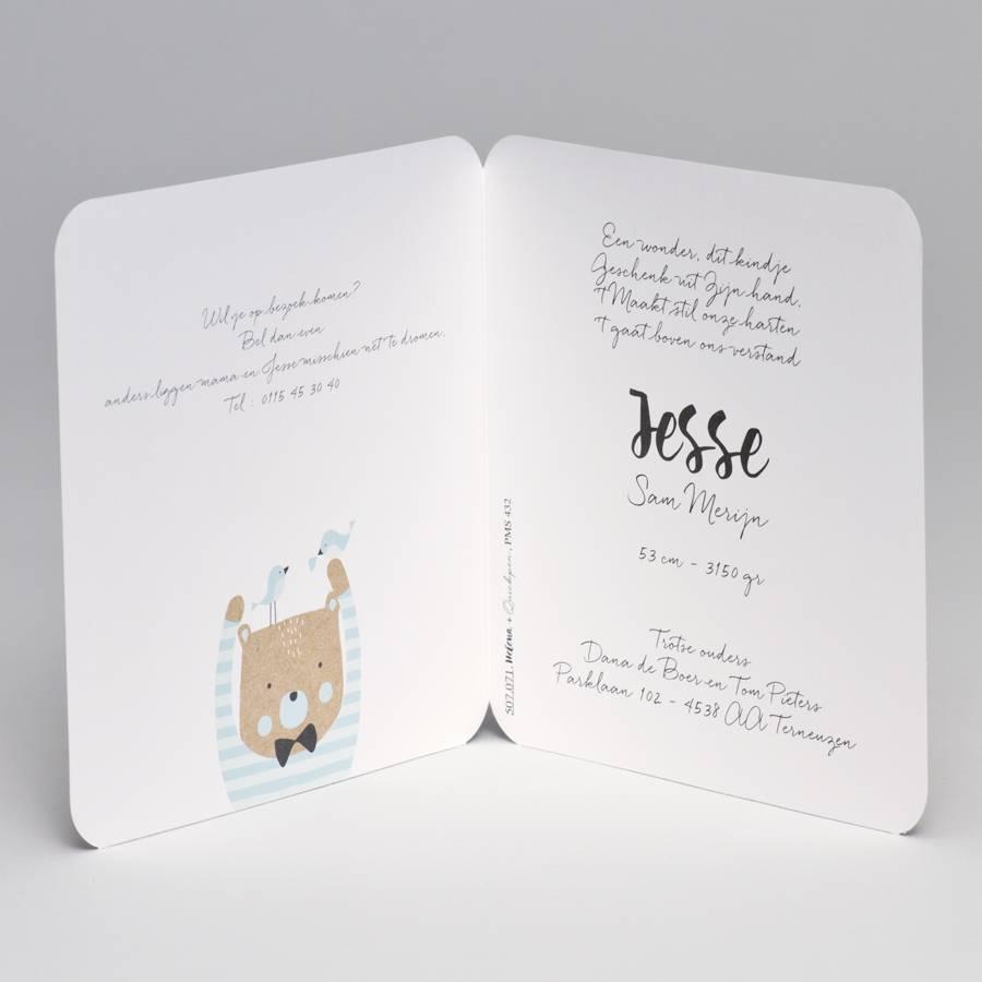 Buromac Pirouette Geboortekaart kraft geboortekaart beer met blauw gestreepte trui (507071)