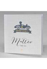 Buromac Pirouette Geboortekaart jongen in sportwagen (507066)
