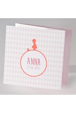 Buromac Pirouette Hip geboortekaartje meisje met eendje en roze ruitjes (505007)