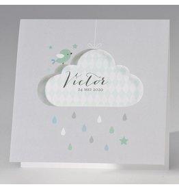 Buromac Pirouette Geboortekaart met mintgroene wolk