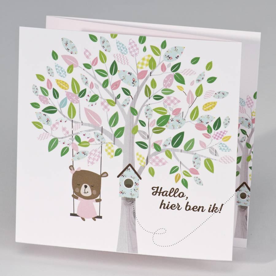 Buromac Pirouette Geboortekaart drieluik schommelende beer aan boom - meisje (507084)