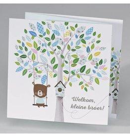 Buromac Pirouette Geboortekaart drieluik schommelende beer aan boom - jongen