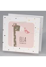 Buromac Pirouette Geboortekaart drieluik giraf met vrolijke stipjes - roze (507044)