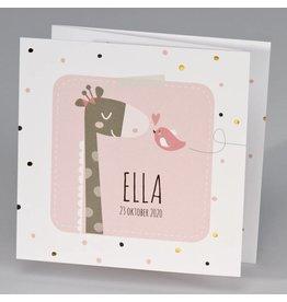 Buromac Pirouette Geboortekaart drieluik giraf met vrolijke stipjes - roze