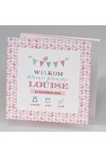 Buromac Pirouette Geboortekaart drieluik fotokaart met kleurrijke vlaggenlijn en bloempatroon (507023)