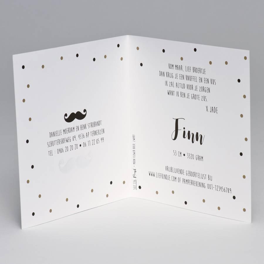 Buromac Pirouette Geboortekaart confettikaart met zwarte snor (507136)