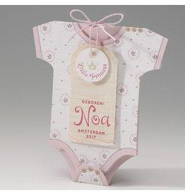 Belarto Welcome Wonder Geboortekaart in de vorm van een rompertje met roze kroontjes