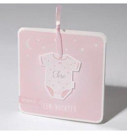 Familycards Klein Wonder Geboortekaartje rompertje aan roze lint