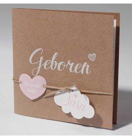 Familycards Klein Wonder Geboortekaartje van eco-papier met wolkje en hartje