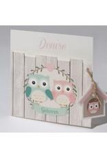 Familycards Klein Wonder Geboortekaartje met twee uiltjes (63610)