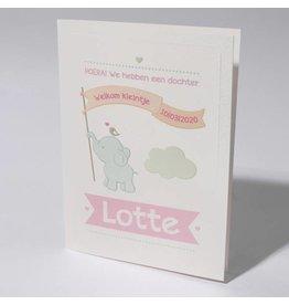 Familycards Klein Wonder Geboortekaartje 'licht blauw olifantje'