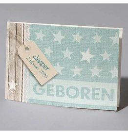 Familycards Klein Geluk Geboortekaartje 'trendy sterren'