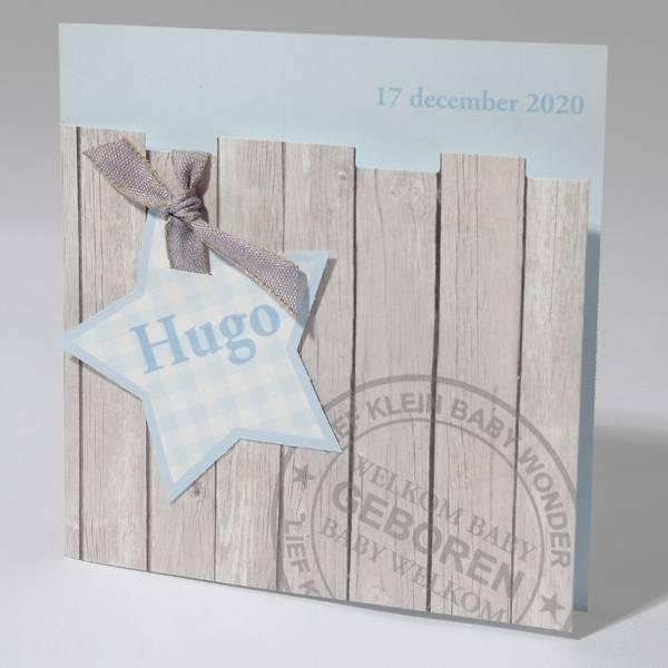 Familycards Klein Wonder Geboortekaartje Stoer Steigerhout Blauw (63550)