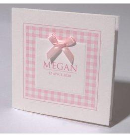 Familycards Klein Wonder Geboortekaartje 'klassiek roze geruit'