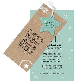 Belarto Welcome Wonder Geboortekaart met sterren en stoer labeltje - groen