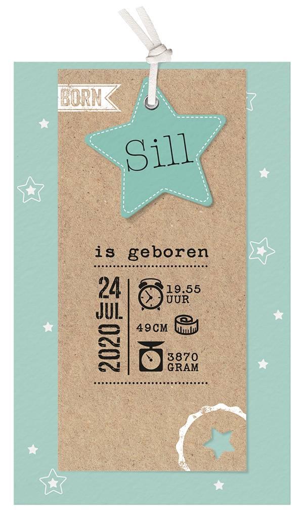 Belarto Welcome Wonder Geboortekaart met sterren en stoer labeltje - groen (717035G)