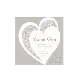Belarto Bohemian Wedding Save the date bij trouwkaart met voelbare inkt en koordje
