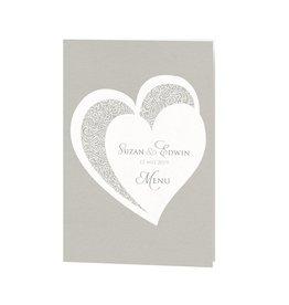 Belarto Bohemian Wedding Menukaart bij trouwkaart met voelbare inkt en bijpassend koordje