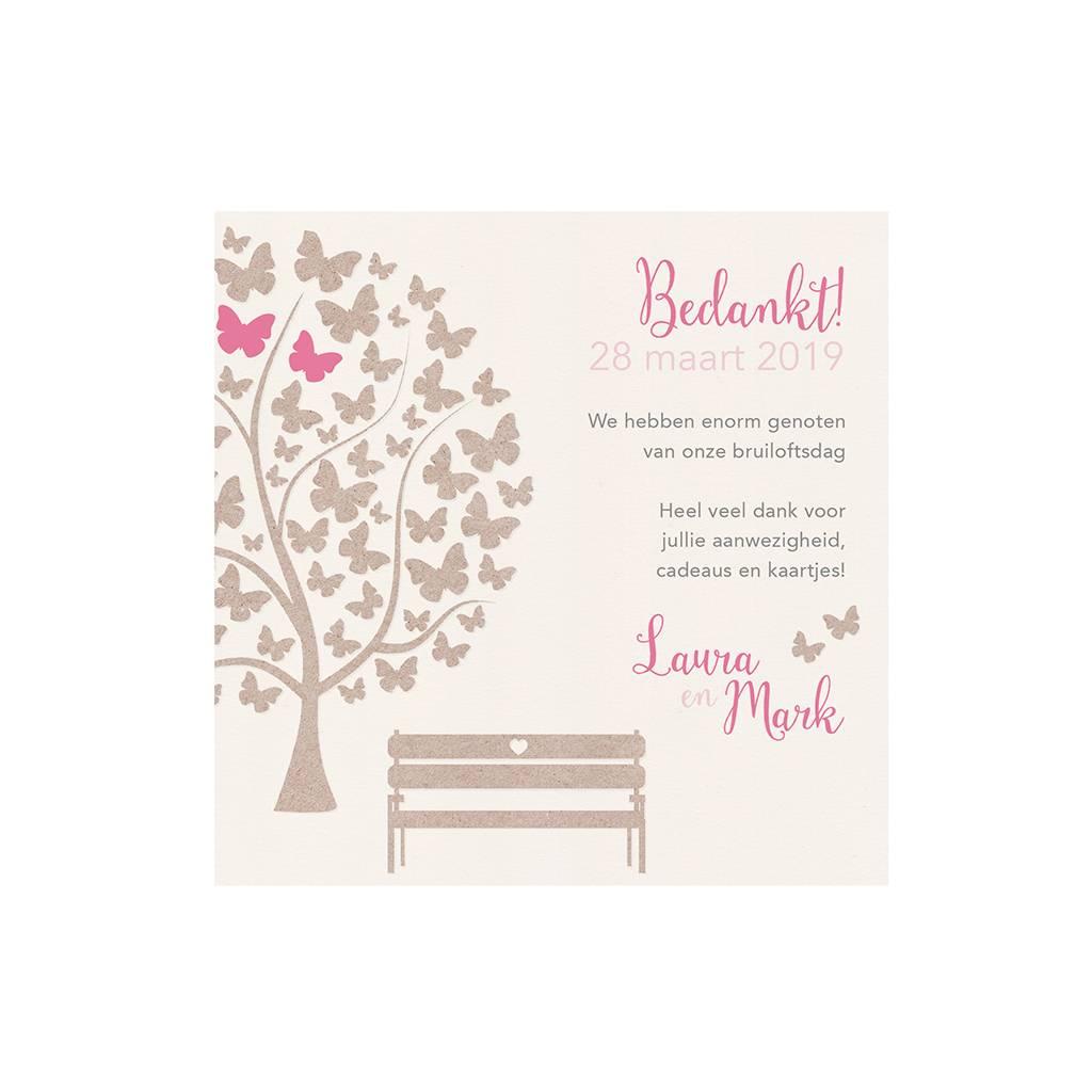 Belarto Bohemian Wedding Bedankkaart bij trouwkaart met vlindertjes en bankje (727540)