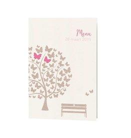 Belarto Bohemian Wedding Menukaart bij trouwkaart met vlindertjes en schattig bankje