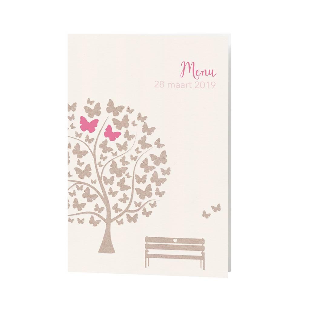 Belarto Bohemian Wedding Menukaart bij trouwkaart met vlindertjes en schattig bankje (727640)