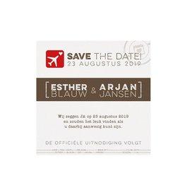 Belarto Bohemian Wedding Save the date bij trouwkaart paspoort