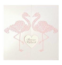 Belarto Bohemian Wedding Trouwkaart met sierlijke flamingo's en uitgesneden hart