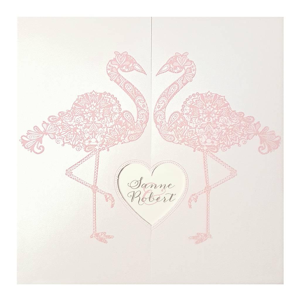 Belarto Bohemian Wedding Trouwkaart met sierlijke flamingo's en uitgesneden hart (727037)