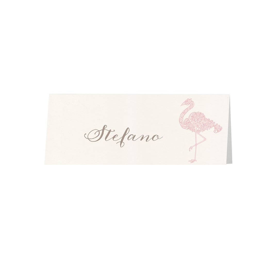 Belarto Bohemian Wedding Tafelkaartje bij trouwkaart met sierlijke flamingo's en uitgesneden hart (727737)