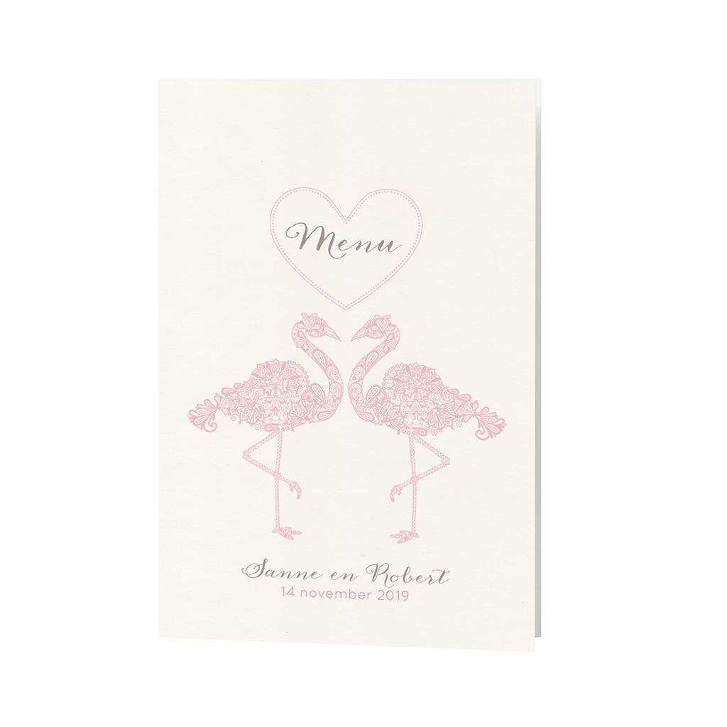 Belarto Bohemian Wedding Menukaart bij trouwkaart met sierlijke flamingo's en uitgesneden hart (727637)