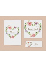 Belarto Bohemian Wedding Trouwkaart met wikkel en bloemmotief en lint (727036)