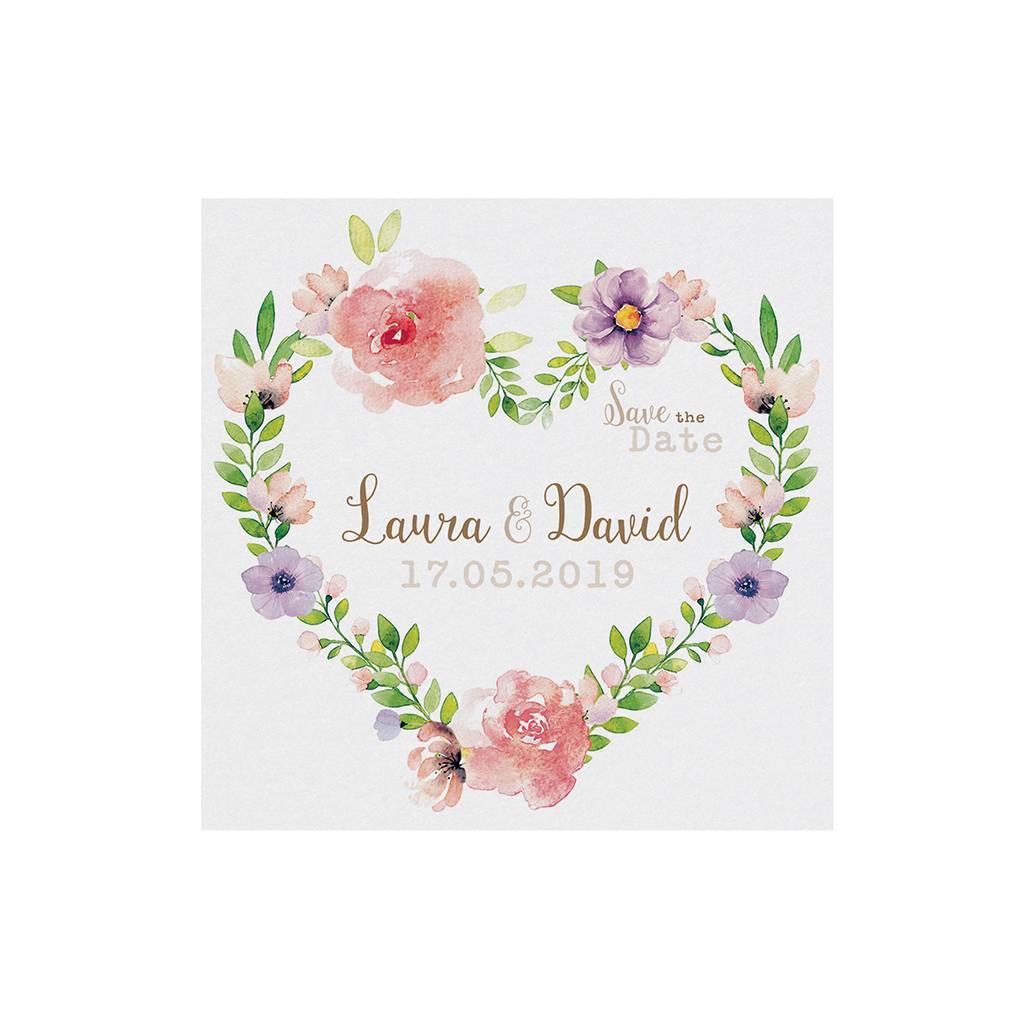 Belarto Bohemian Wedding Save the date bij trouwkaart met wikkel en bloemmotief (727536)