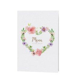Belarto Bohemian Wedding Menukaart bij trouwkaart met wikkel en bloemmotief