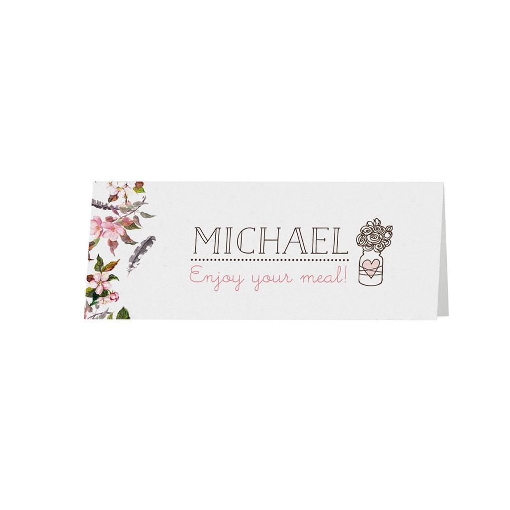 Belarto Bohemian Wedding Tafelkaartje bij trouwkaart met bloemmotief en organza lintje (727709)
