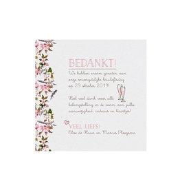 Belarto Bohemian Wedding Bedankkaart bij trouwkaart met bloemmotief en organza lintje