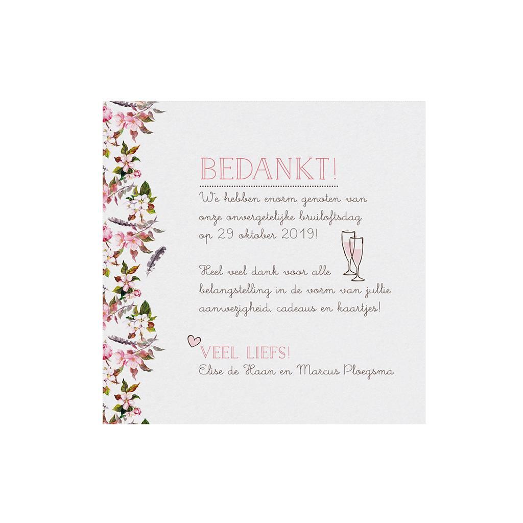 Belarto Bohemian Wedding Bedankkaart bij trouwkaart met bloemmotief en organza lintje (727509)