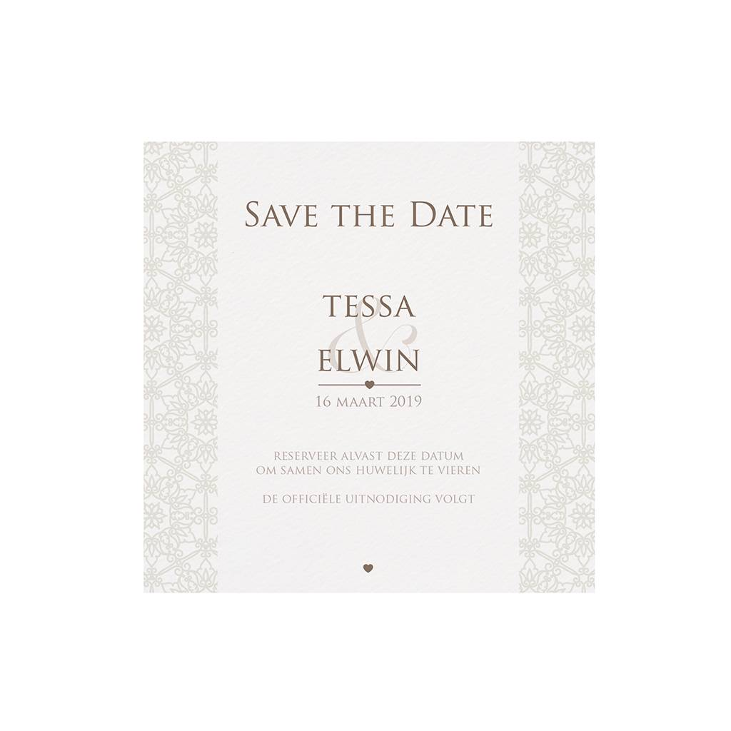 Belarto Bohemian Wedding Save the date bij trouwkaart pochette trouwkaart in parelmoer (727535)