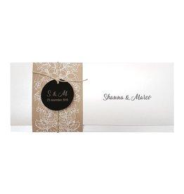 Belarto Bohemian Wedding Trouwkaart in parelmoer met wikkel en bloemenmotief